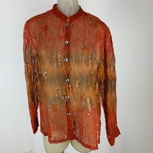 Drapers & Damon's Tunic blouse silk embroidered